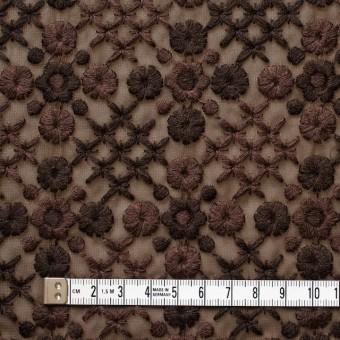 ポリエステル×フラワー(ダークブラウン)×ジョーゼット刺繍 サムネイル4