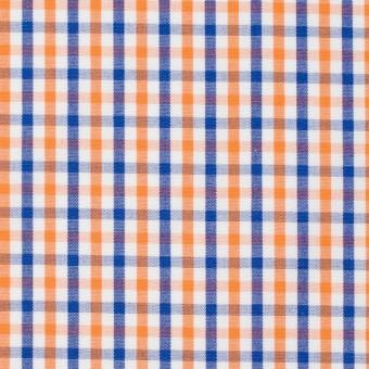 コットン×チェック(オレンジ&ブルー)×ブロード_全2柄 サムネイル1