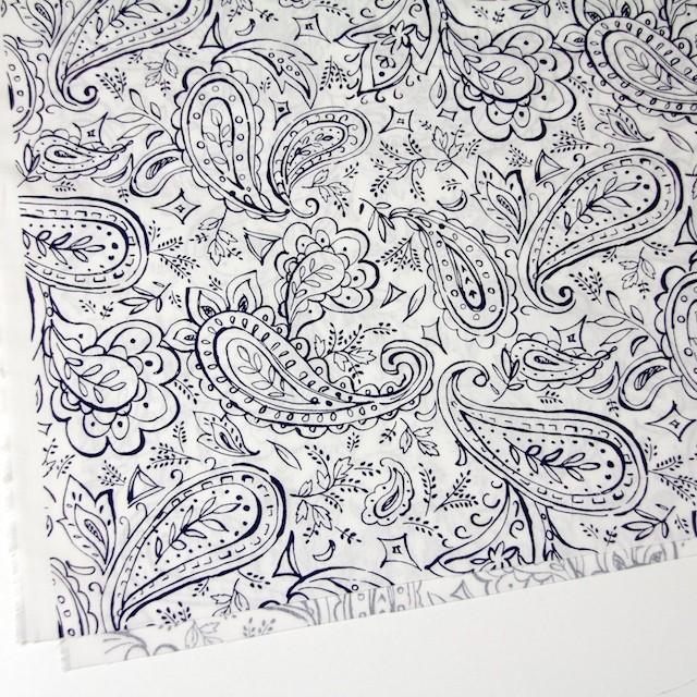コットン&リネン×ペイズリー(オフホワイト)×シーチング_全2色 イメージ2