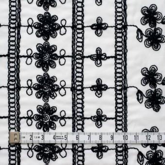 コットン×フラワー(オフホワイト&ブラック)×ボイル刺繍 サムネイル4