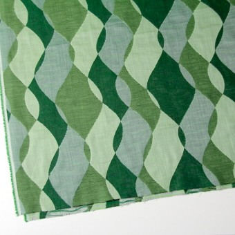 コットン×幾何学模様(グリーンミックス)×二重織ジャガード サムネイル2