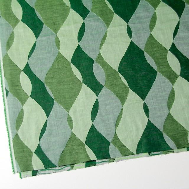 コットン×幾何学模様(グリーンミックス)×二重織ジャガード イメージ2