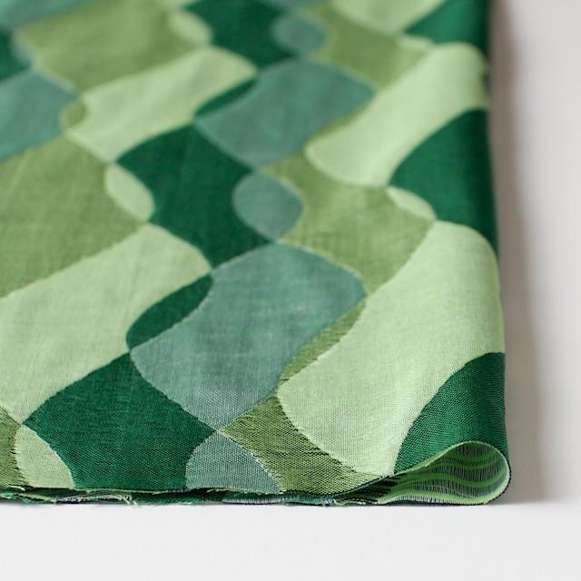 コットン×幾何学模様(グリーンミックス)×二重織ジャガード イメージ3