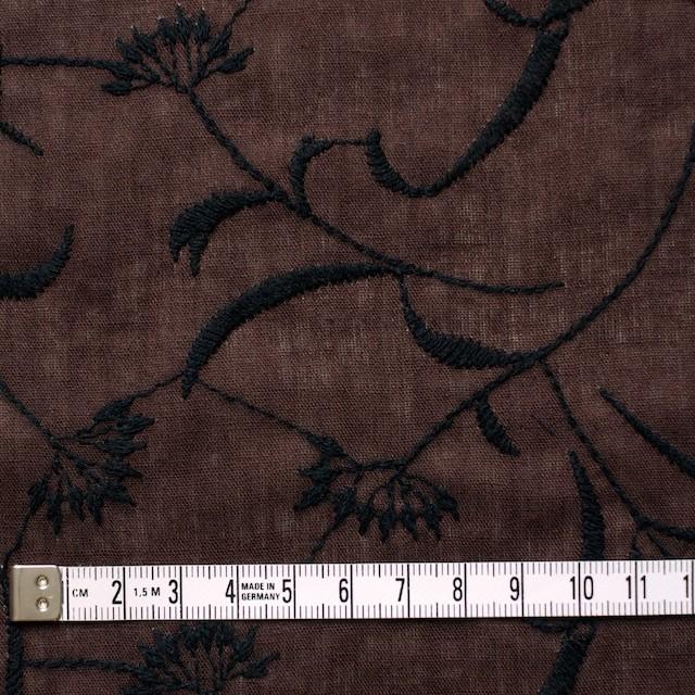 コットン&リネン×フラワー(ブラウン)×薄シーチング刺繍_全3色 イメージ4