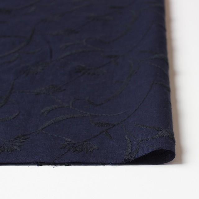 コットン&リネン×フラワー(ネイビー)×薄シーチング刺繍_全3色 イメージ3