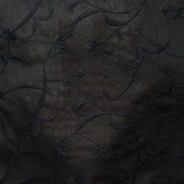 コットン&リネン×フラワー(ブラック)×薄シーチング刺繍_全3色 イメージ5