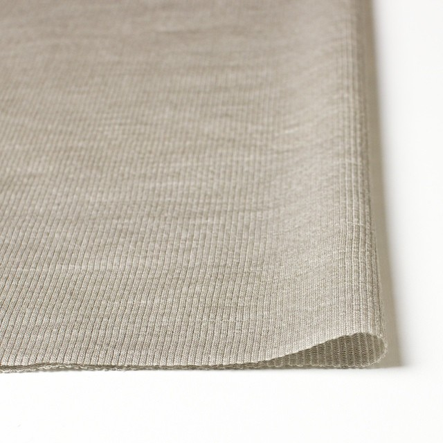 ポリエステル&リネン×無地(カーキベージュ)×ストライプニット_全4色 イメージ3