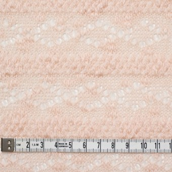 コットン&ポリウレタン×幾何学ボーダー(ピンクベージュ)×模様編ニット_全2色 サムネイル4