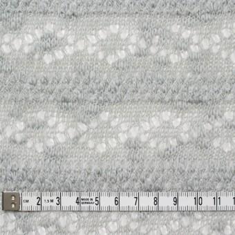 コットン&ポリウレタン×幾何学ボーダー(ライトグレー)×模様編ニット_全2色 サムネイル4