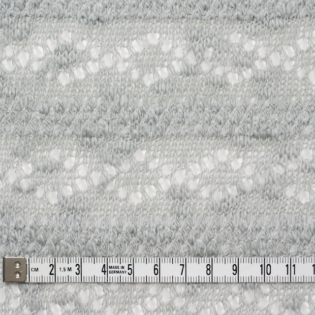 コットン&ポリウレタン×幾何学ボーダー(ライトグレー)×模様編ニット_全2色 イメージ4