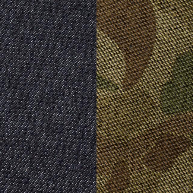 コットン×無地(インディゴ)&迷彩(カーキミックス)×デニムWフェイス イメージ1