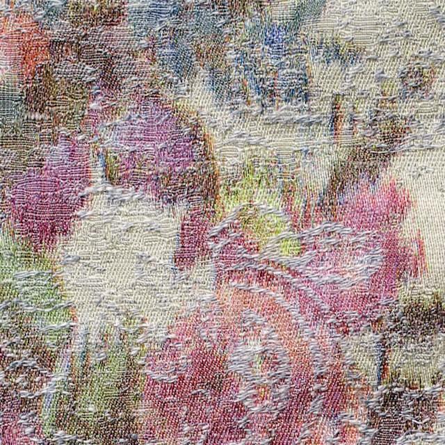 コットン&ポリエステル×フラワー(アイスグレー&キナリ)×ジャガード_全2色 イメージ1