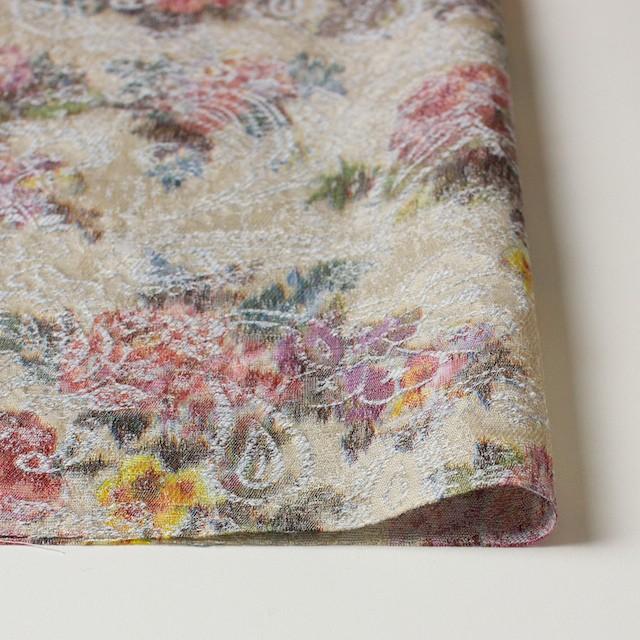 コットン&ポリエステル×フラワー(アイスグレー&キナリ)×ジャガード_全2色 イメージ3
