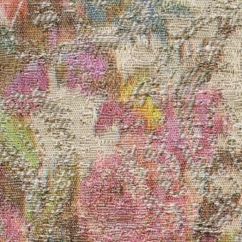 コットン&ポリエステル×フラワー(ベージュ&キナリ)×ジャガード_全2色 サムネイル1