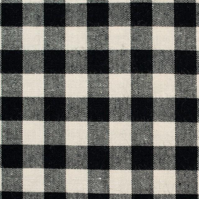 コットン×ブロックチェック(キナリ&ブラック)×シーチング_全4色 イメージ1
