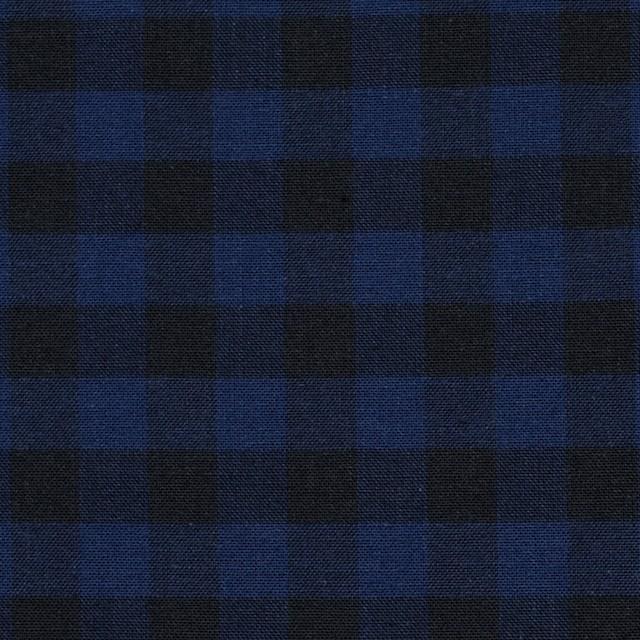 コットン×ブロックチェック(ブルー&ブラック)×シーチング_全4色 イメージ1