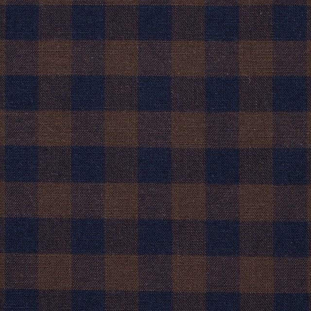 コットン×ブロックチェック(ブラウン&ネイビー)×シーチング_全4色 イメージ1