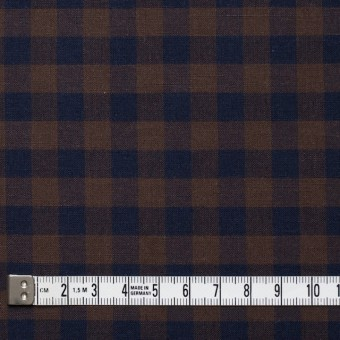 コットン×ブロックチェック(ブラウン&ネイビー)×シーチング_全4色 サムネイル4