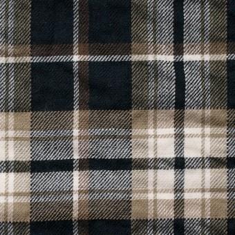コットン&ポリウレタン×タータンチェック(ブラウン&ブラック)×ビエラ_全3色 サムネイル1