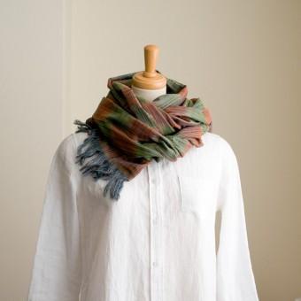 二重織ジャガードのストールキット(オレンジ&グリーン)