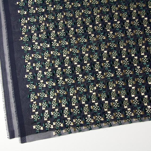 ポリエステル×幾何学模様(ゴールド&モスグリーン)×ジョーゼット刺繍_全2色 イメージ2