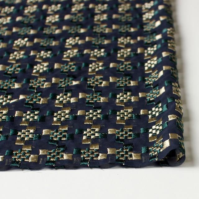 ポリエステル×幾何学模様(ゴールド&モスグリーン)×ジョーゼット刺繍_全2色 イメージ3