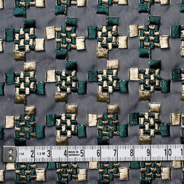 ポリエステル×幾何学模様(ゴールド&モスグリーン)×ジョーゼット刺繍_全2色 イメージ4
