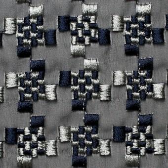 ポリエステル×幾何学模様(シルバー&ネイビー)×ジョーゼット刺繍_全2色 サムネイル1