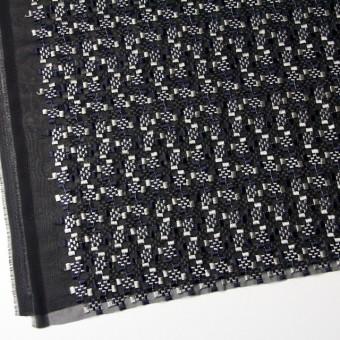 ポリエステル×幾何学模様(シルバー&ネイビー)×ジョーゼット刺繍_全2色 サムネイル2