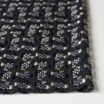 ポリエステル×幾何学模様(シルバー&ネイビー)×ジョーゼット刺繍_全2色 サムネイル3