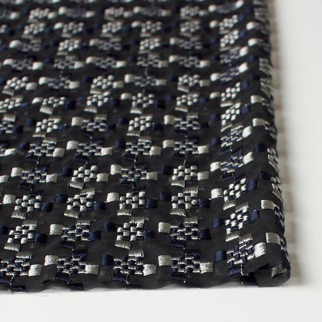 ポリエステル×幾何学模様(シルバー&ネイビー)×ジョーゼット刺繍_全2色 イメージ3