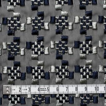 ポリエステル×幾何学模様(シルバー&ネイビー)×ジョーゼット刺繍_全2色 サムネイル4