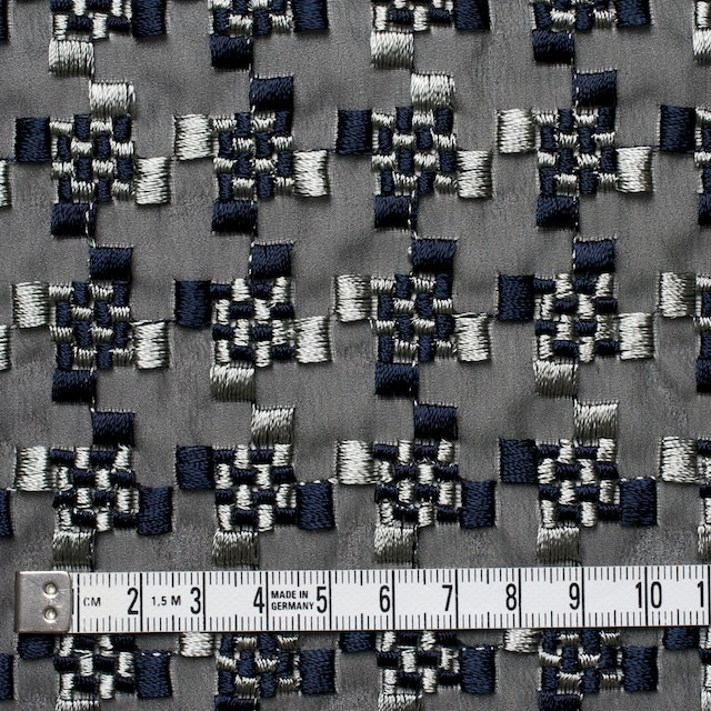 ポリエステル×幾何学模様(シルバー&ネイビー)×ジョーゼット刺繍_全2色 イメージ4