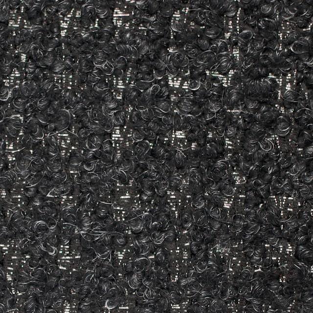 ポリノジック&ポリエステル混×格子(グレーミックス)×アストラカンジャガード_イタリア製 イメージ1