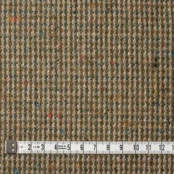 ウール&ポリエステル混×ミックス(ベージュ&スレートグリーン)×千鳥格子ツイード サムネイル4