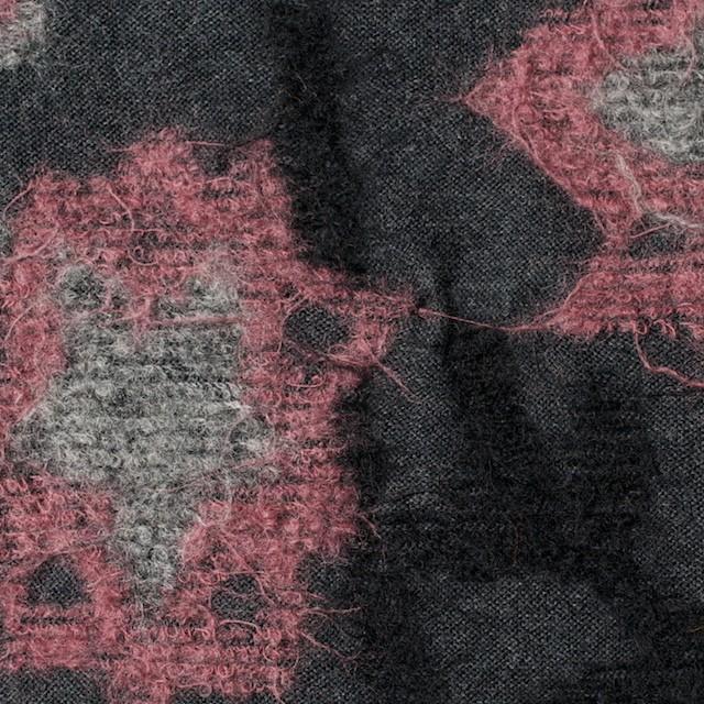 ウール×フラワー(ピンク&グレー)×ジャガードニット イメージ1