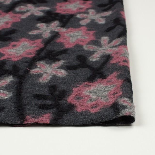 ウール×フラワー(ピンク&グレー)×ジャガードニット イメージ3