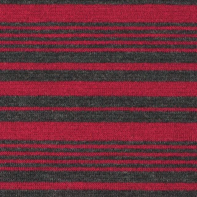 テンセル&ウール混×ボーダー(レッド)×天竺ニット_全2色 イメージ1