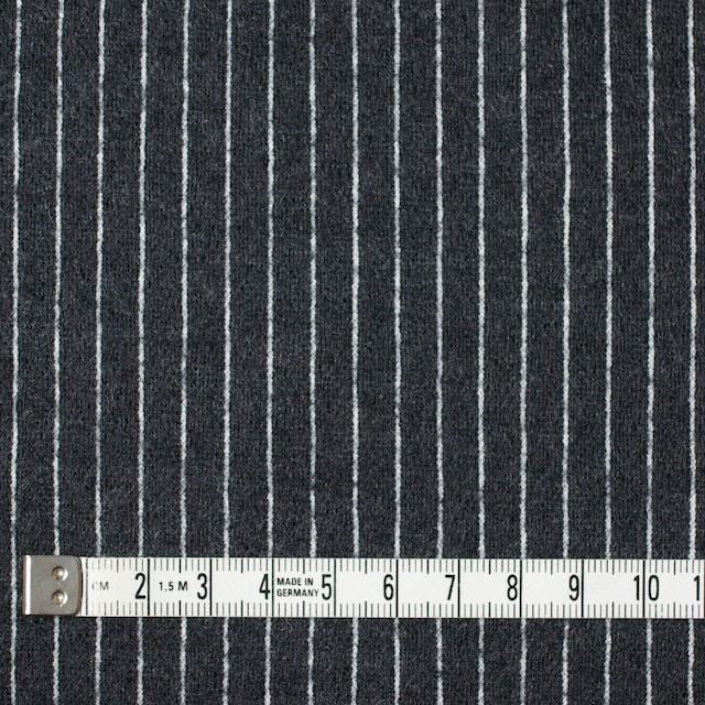 ウール&アクリル×ストライプ(チャコールグレー)×Wニット イメージ4