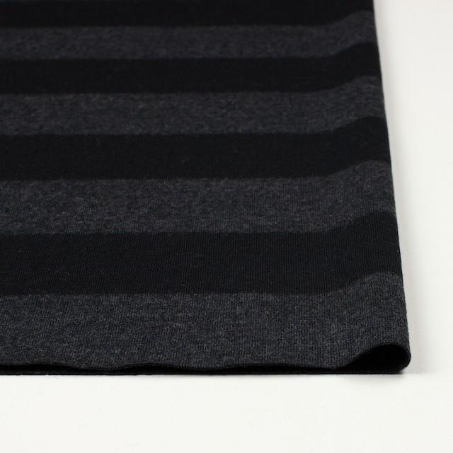 ウール×ボーダー(チャコールグレー&ブラック)×天竺ニット イメージ3