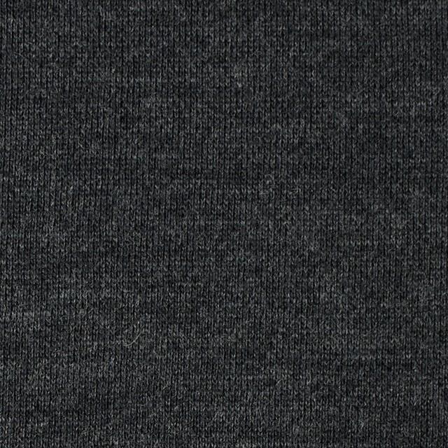 ウール×無地(チャコールグレー)×裏毛ニット イメージ1