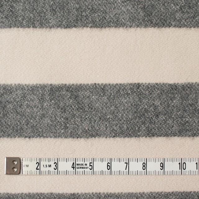 ウール&ナイロン×ボーダー(キナリ&グレー)×フランネル イメージ4