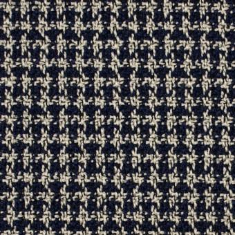 ウール&ポリエステル×チェック(ベージュ&ネイビー)×千鳥格子 サムネイル1