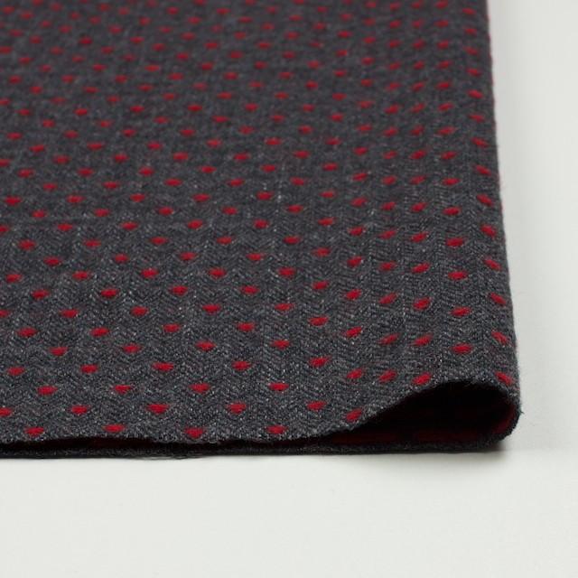 ウール&ナイロン×ドット(レッド&チャコールグレー)×ヘリンボーンジャガード イメージ3