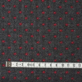 ウール&ナイロン×ドット(レッド&チャコールグレー)×ヘリンボーンジャガード サムネイル4