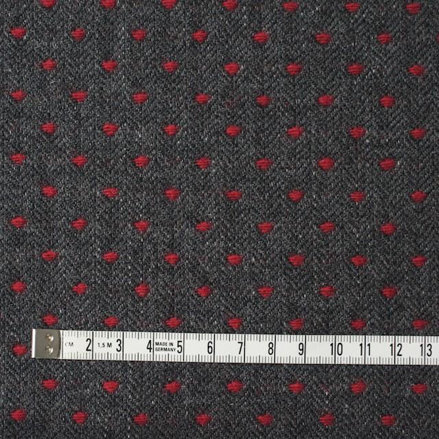 ウール&ナイロン×ドット(レッド&チャコールグレー)×ヘリンボーンジャガード イメージ4