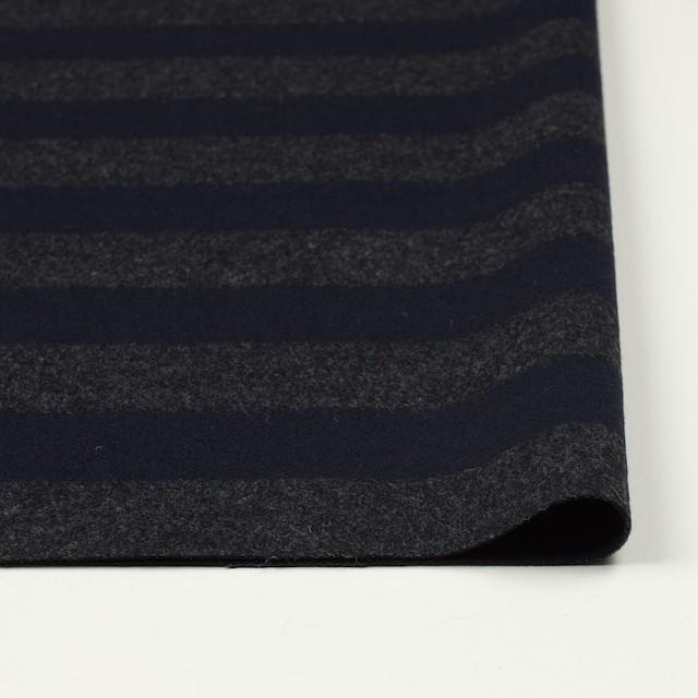 ウール&ナイロン×ボーダー(グレー&ネイビー)×フランネル イメージ3