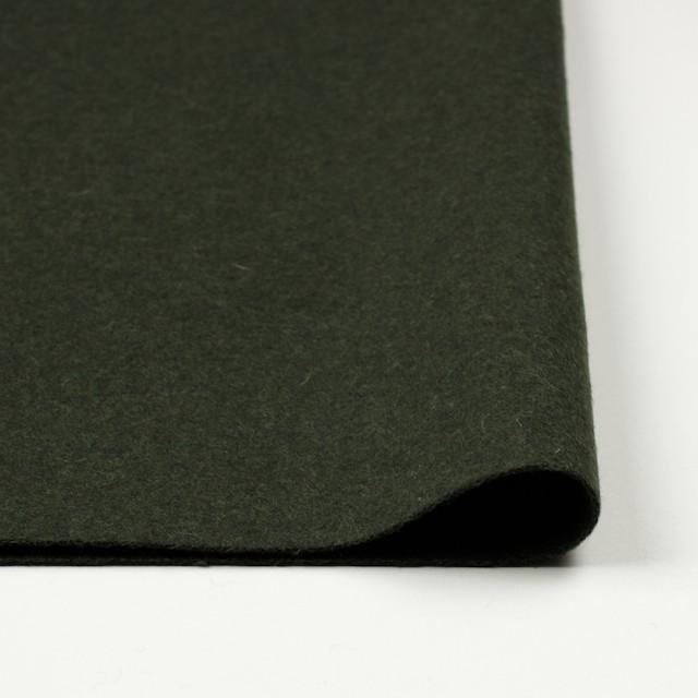 ウール×無地(ダークグリーン)×メルトン イメージ3