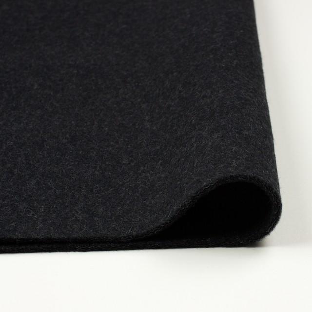 ウール×無地(チャコールブラック)×メルトン イメージ3
