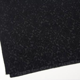 ウール&ポリエステル×フラワー(ブラック)×ジャガード サムネイル2
